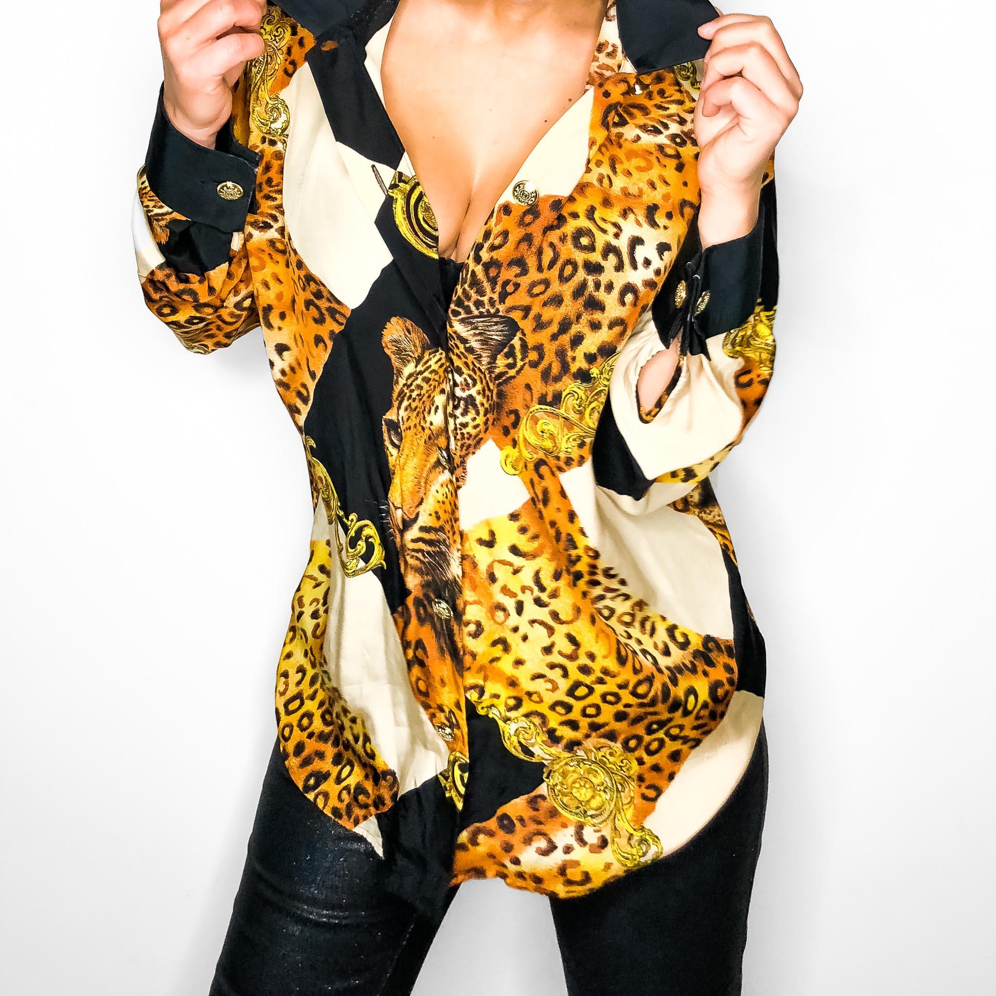 koszula w tygrysy, a'la versace, vintage